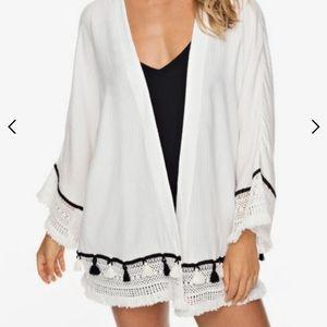 NWT Roxy Boho Style Cover Up Cardigan White M/L